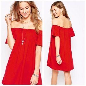 Asos Red Off Shoulder Dress sz 16